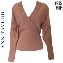 Pink Cashmere Jumper Blush Wrap V Neck Ann Taylor Long Sleeves Size Small - $60.88