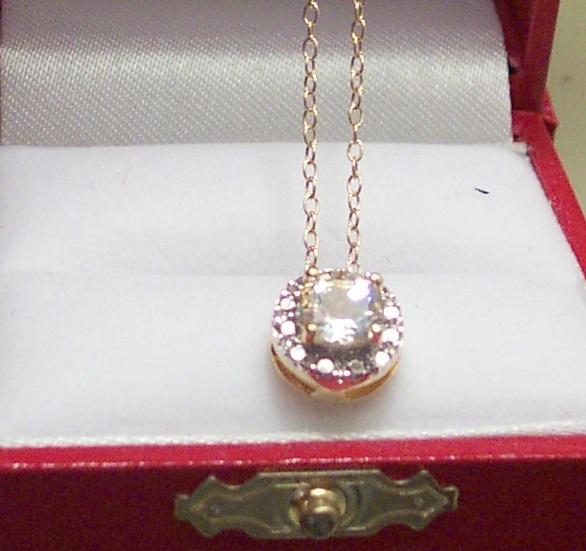 White Topaz Button Necklace image 2