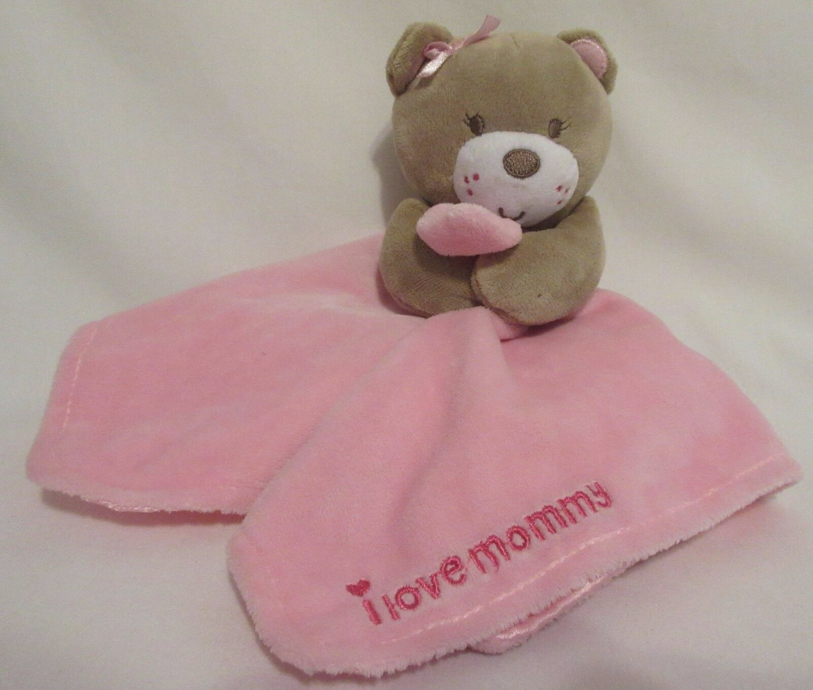 Magic Years Pink Bear I Love Mommy Security Blanket Rattle Lovey Girl Baby Hugs - $29.67