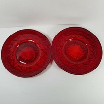 2 Vintage Rare Imperial Glass Salad Plates Ruby Red Cape Cod Pattern 8 inch - $38.79