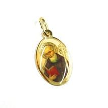 SOLID 18K YELLOW OVAL GOLD MEDAL, 17x12 mm, SAINT BENEDICT, ENAMEL - $129.94