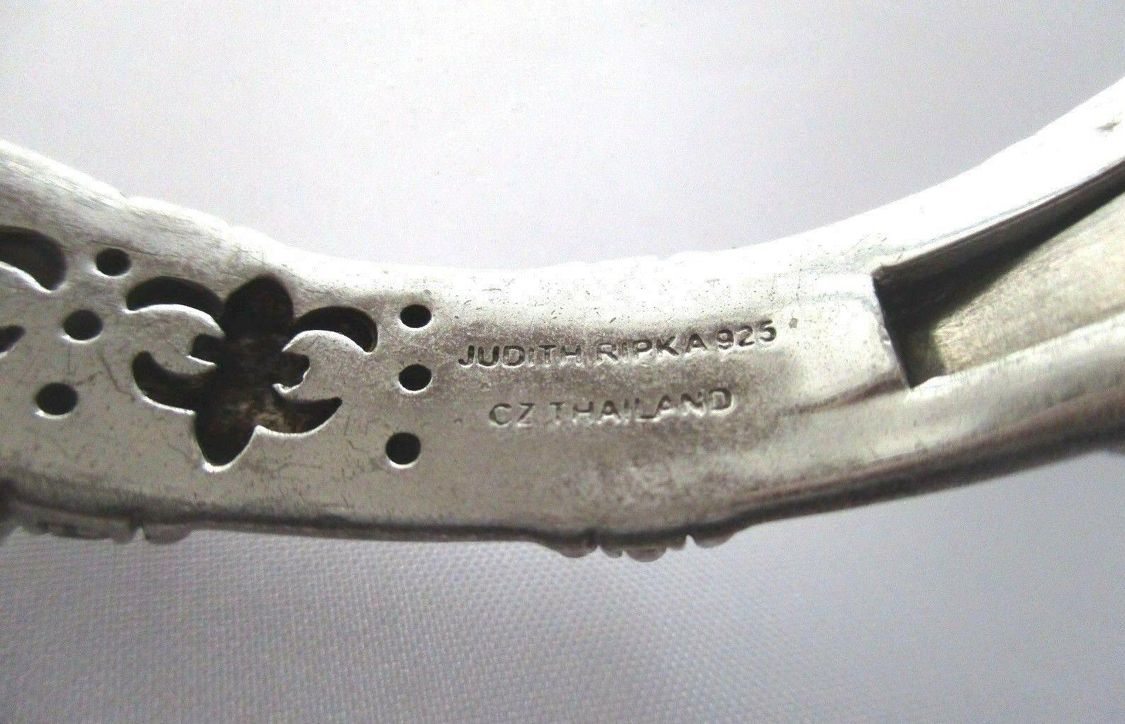 JUDITH RIPKA STERLING SILVER DIAMONIQUE CABLE CUFF BRACELET JR BOX & POUCH AVGE image 10