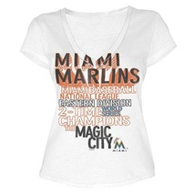 MLB  Woman's Florida Marlins WORD White Tee with  City Words XL - $15.99