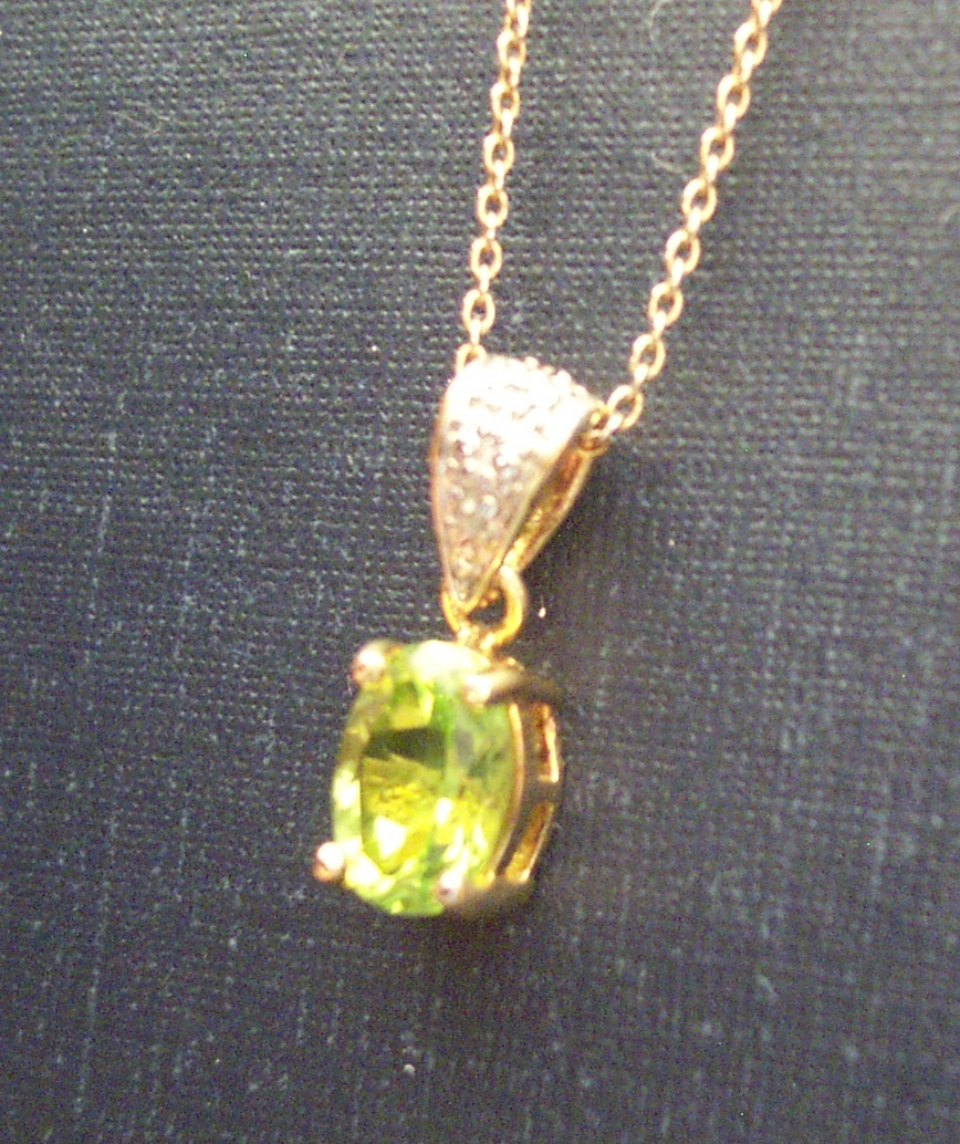 Peridot with Diamond Accent Necklace