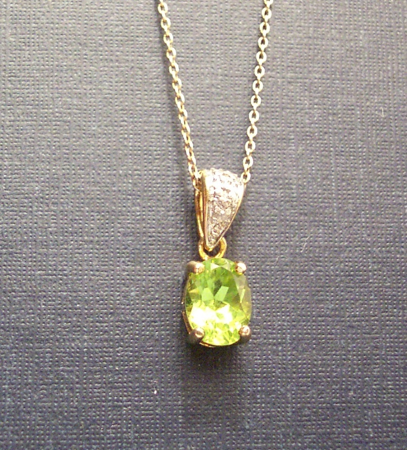 Peridot with Diamond Accent Necklace image 2