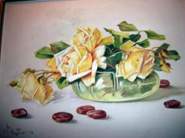 Yellow Roses Still Life Vintage Oil Painting,Signed Artist Pangilinan Reduced image 1