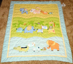 Carter's Just One Year Baby Blanket Giraffe Zebra Monkey Alligator Green... - $37.39