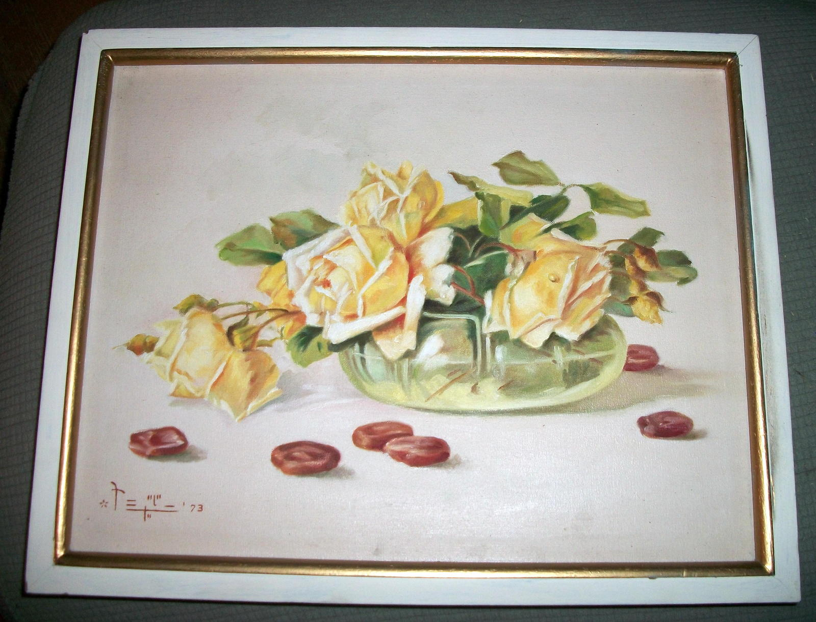 Yellow Roses Still Life Vintage Oil Painting,Signed Artist Pangilinan Reduced image 2