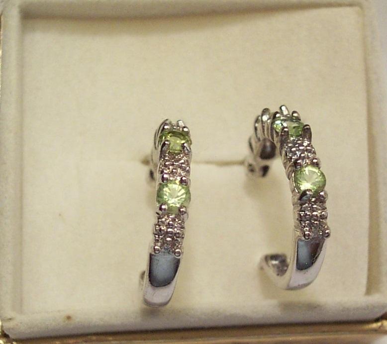 Peridot and Diamond Hoop Earrings in Sterling Silver image 2
