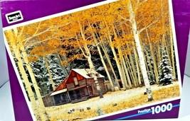 Prestige RoseArt 1000 Piece Jigsaw Puzzle Cabin in Woods, Birch Trees NEW - $8.91