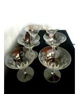 Set of 6 Vintage Etched Flower & Berry Crystal Glass Goblets - $19.79