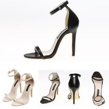 c50f07c147d Solid Color Buckle Ankle-Strap Stiletto Heels High Heel Sandals