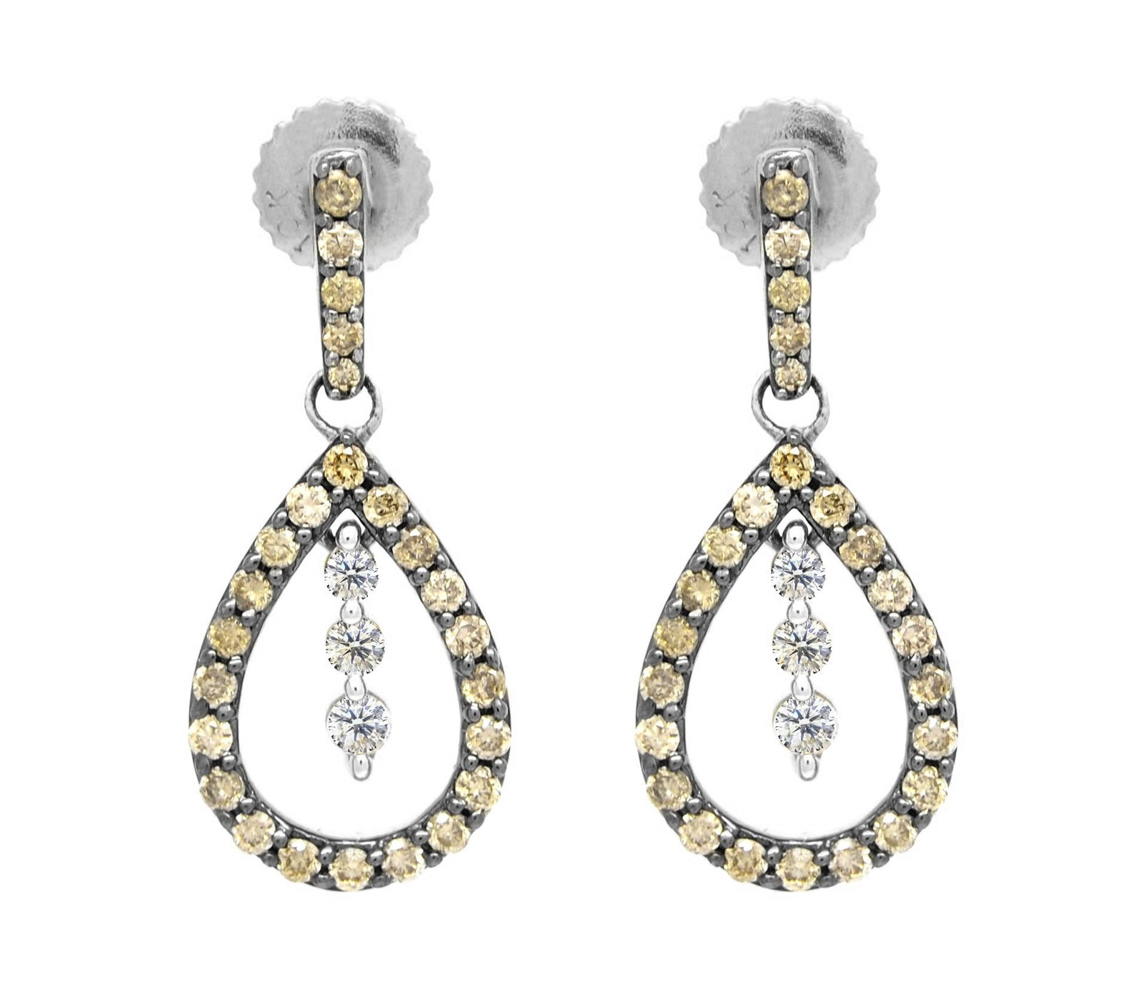 10K Gold 0.50 Ct White and Brown Diamond Dangling Pear Shaped Earrings (white-go
