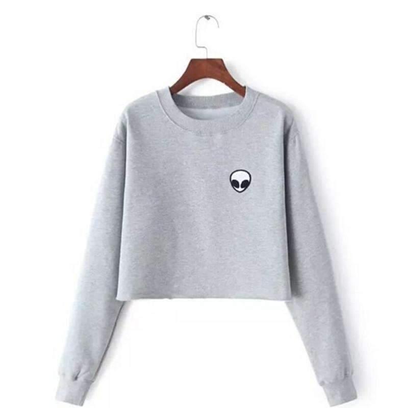 Or less hoodies sweatshirts silver s loose full sleeve women crop pullover sweater 1403229863967