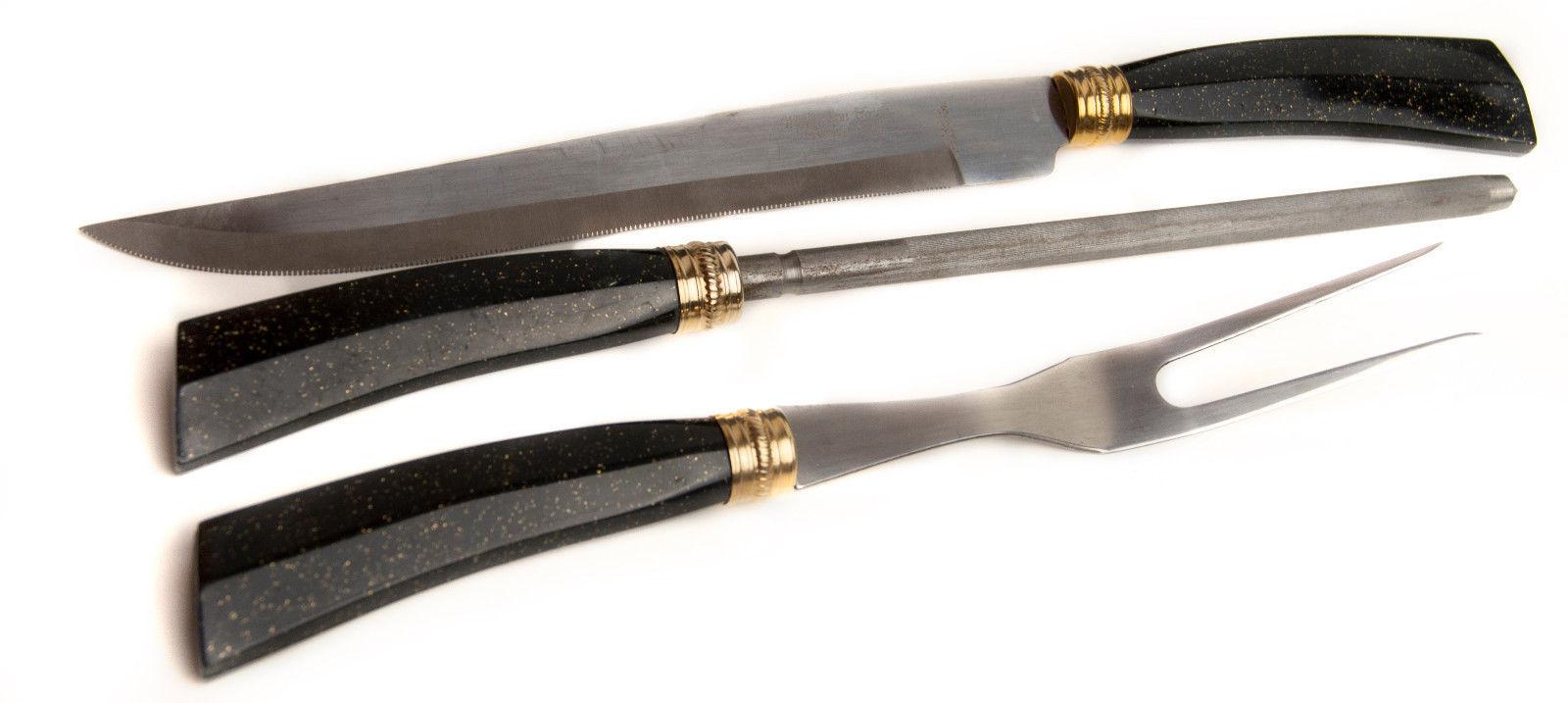 Vintage Washington Forge Sheffield Stainless Steel Black Handle Carving Set - $14.50