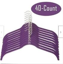 Huggable Shirt Non-Slip Hangers 40-Pack Purple Velvet Space Saving Joy Mangano - $100.00