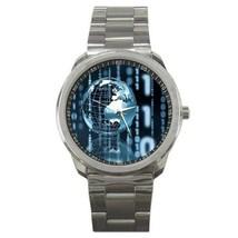 STUNNING WORLD GLOBE COMPUTER BINARY SPORTS WATCH NEW! - $25.99
