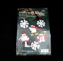 Vintage Bucilla Snowmen And Snowflakes Ornaments 1996 Gallery of Stitches #33610 - $12.85