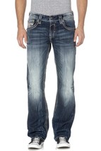 NEW ROCK REVIVAL MEN'S CRETE J DISTRESSED STRAIGHT CUT JEAN DARK DENIM RJ6554J