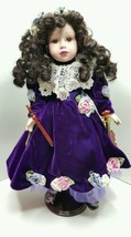 1999 Camellia Garden Doll Beautiful Purple Crushed Velvet, Roses, Lace &... - $19.99