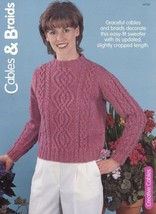 Cables & Braids Women's Sweater Size S-XL Knitting Pattern Leaflet - $1.77