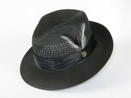d14830981f44a Men Summer Straw Style Hat BRUNO CAPELO Vented Fedora Snap Brim DO831 Bl..