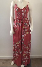 Jaase Womens Jumpsuit Sz Small Boho Rust Floral Printed V Neck Adjustabl... - $59.39