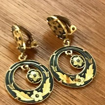 Vintage Damascene Floral Oval with Open Circle & Center Dangle Clip Earr... - $10.39