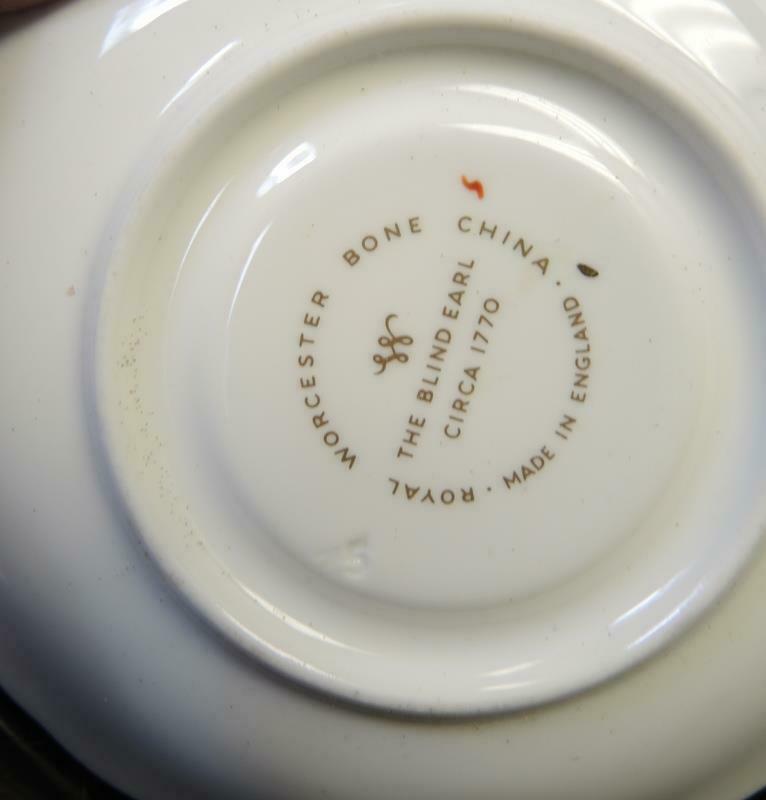 Ten Royal Worcester Demitasse Cups & Saucers - The Blind Earl Pattern