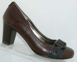 Sofft brown leather round toe buckle accent slip on 1058300 block heels 8M - $37.04