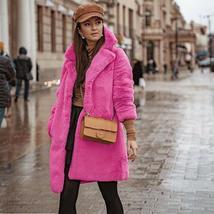 Women's Trendy Pink Thicken Faux Fur Lapel Parka Collar Jacket Winter Coat