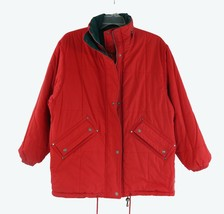 JL COLEBROOK puffer jacket reversable old school size L red green - $57.00