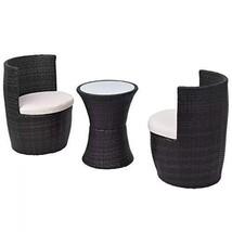 Black Bistro Set Garden Furniture Wicker Stacking Outdoor Dining Furniture - ₹20,436.88 INR