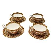 Royal Albert Lot 4 Tea Cups COURT pattern Fine China Vintage 1920s - $124.00