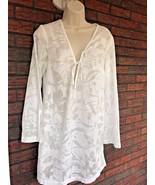 Merona Size Medium Semi Sheer White Beach Cover Up Dress Beautiful Tunic - $14.85