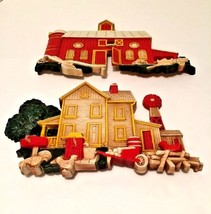 Set 2 Homeco Hard Plastic Farmhouse & Barn Wall Hanging Plaques American... - $14.95