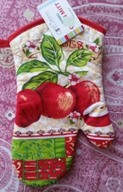 "Fabric Printed Kitchen 12"" Jumbo Oven Mitt, 3 RED APPLES # 2 w/red back,... - $7.91"