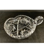 Antique American Brilliant Cut Heavy Clear Glass Handled Nappy Dish - $15.90