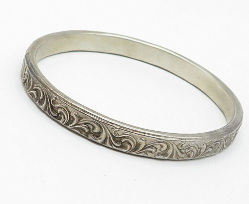 925 Silver - Vintage Baroque Swirl Etched Design Bangle Bracelet - B4939