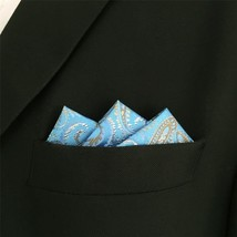 ShlaxWing Paisley Blue Necktie Mens Ties Silk Suit Set Jacquard Woven Skinny Ex - $14.71