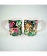 Vintage 1993 Sue Zipkin Vitromaster Rain Forest Ceramic Coffee Cup Mugs ... - $33.85