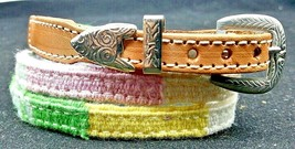 Hatband Multi-Color With Leather Ends And Silver Buckle Set Cowboy Hat Band Blue - $14.50