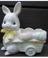 easter bunny rabbit easter egg wagon ceramic pl... - $99.99