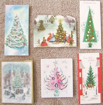Vintage CHRISTMAS TREE GREETING CARDS NOEL GLITTER 6 HOLIDAY CARDS - $49.99