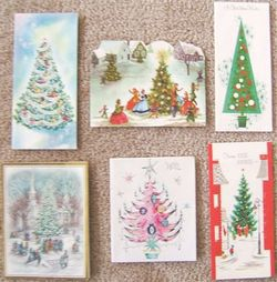 Vintage CHRISTMAS TREE GREETING CARDS NOEL GLITTER 6 HOLIDAY CARDS