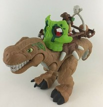Imaginext T-Rex Dinosaur Launcher Power Pad Sounds Movement Boulder Cata... - $39.55