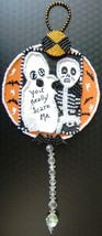 HALLOWEEN GHOST and SKELETON Handcrafted DECORATION with VINTAGE CLEAR C... - $49.99
