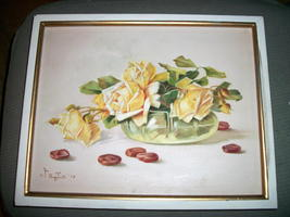 Yellow Roses Still Life Vintage Oil Painting,Signed Artist Pangilinan Reduced image 5
