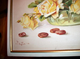 Yellow Roses Still Life Vintage Oil Painting,Signed Artist Pangilinan Reduced image 6
