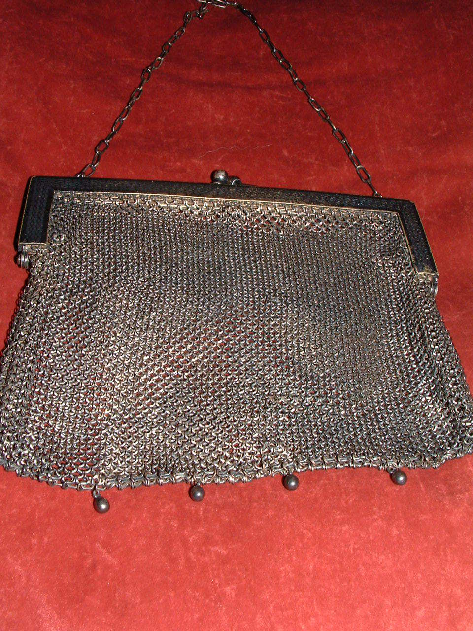 GERMAN SILVER LATE 1800'S SILVER MESH PURSE/ HANDBAG